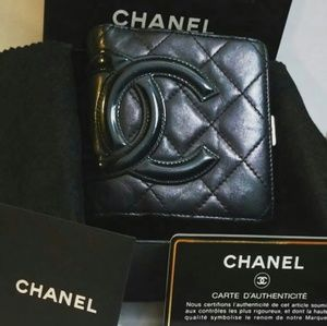 Authentic Chanel Cambon Quilted Wallet Black